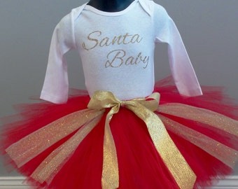 Red and Gold Santa Baby Tutu Outfit