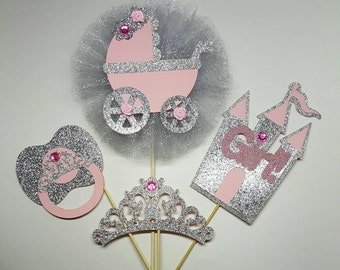 Princess centerpiece baby shower centerpiece crown centerpiece tiara centerpiece princess diaper cake topper silver centerpiece princess pin