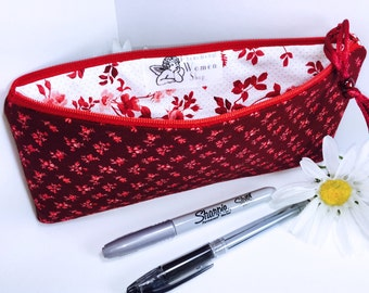 Deep Red Floral Cosmetic Pouch, Zipper Pouch, Red Pencil Case, Red Pencil Pouch, Cute Pencil Case