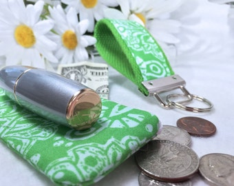 Spring Green Print Mini Key Fob and Zipped Lipstick Coin Purse Set, Earbuds Headphones Case, Mother's Day Gift Under 10 Dollars