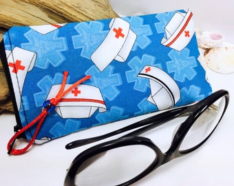 Nurse Glasses Case, RN Zip Top Eyeglass Case, Med-surg Nurse Sunglasses Pouch, Sunglasses Case, Nurse Eyeglasses Case