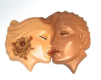 Vintage Chalkware, Art Deco, Large Double Faces, Chalkware Wall Plaque, ABCO Alexander Backer, Wall Mask, Hawaiian kissing Faces, Wall Decor