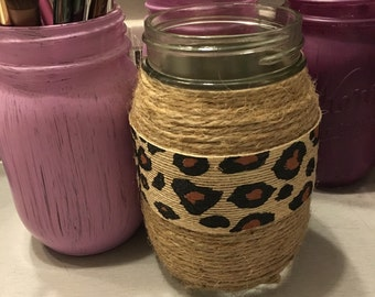 Cheetah Mason Jar