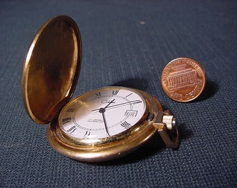 Vintage Old Collectible * Colibri Pocket Watch * Goldtone * Swiss Made * 17 Jewel