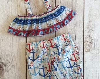 Toddler/Baby Nautical Themed Playsuit, Anchor Print Clothing Set, Toddlers Size 18M, Pool Party Outfit, Beach Vacation Outfit