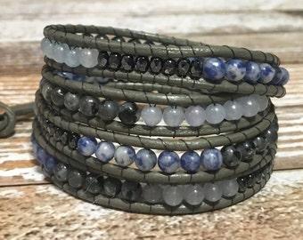Aquamarine Bracelet / Chan Luu Wrap Style Bracelet / Healing Crystal Bracelet / Healing Crystal Jewelry / Chan Luu Jewelry