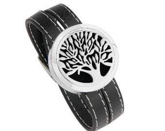 Essential Oil Diffuser Leather Tree of Life  Bracelet