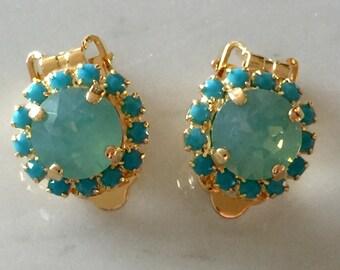 Swarovski Pacific Opal Clip On Earrings, Swarovski Turquoise Clip On Earrings, Pacific Opal Crystal Clip On Earrings, Bridesmaid Clip Ons