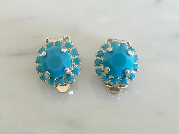 Swarovski Turquoise Crystal Halo Clip On Earrings, Silver