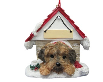 """Yorkipoo Christmas Ornament with Magnetic back, personalized with your Dog's Name.Hand Painted with a brush.Measures 3"""" by 3"""""""