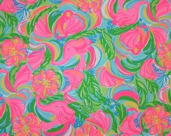 "1 Yard 36"" x 57"" New Lilly Pulitzer 2016 Spring Cotton Sateen Fabric "" So a Peeling  """