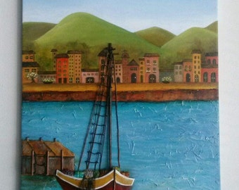 Original 3D Oil Painting.The Red Boat .Mixed Media Oil on Canvas.