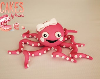 Cute Octopus Fondant Cake Topper (MADE TO ORDER)