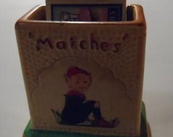 Souvenir Torquay Vintage Pixie / Elf  Matches Holder by Manor Ware & Scottish Bluebell Matchbox