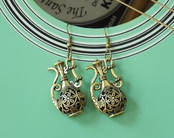 Unique Antique Bronze Earrings with Ornate Pitcher Charm