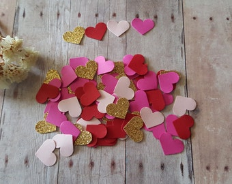 Heart Confetti, Bridal Shower Decor, Valentine's Confetti ,Wedding hearts,Gold and Pink Heart confetti, Pink and Gold heart confetti