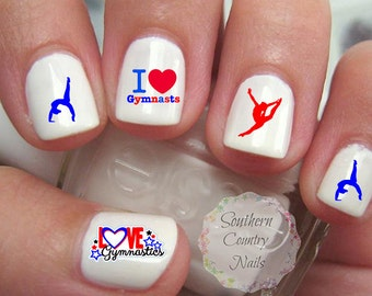 Gymnastics Red and Blue Nail Art Decals