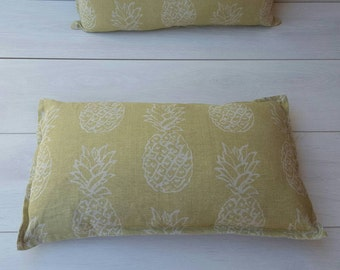 Pineapple citrus cushion ~oblong linen pillow~ pinapples, fruit cushion, summer, pineapple decor, lime green, pinapple, throw pillow