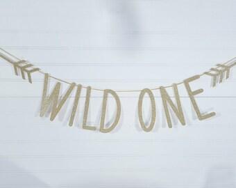 Arrow Wild One Gold Glitter Banner > Wild One First Birthday Party Decor Garland
