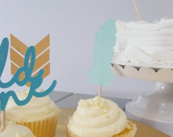 Tribal Wild One Birthday Party Feather Cupcake Toppers