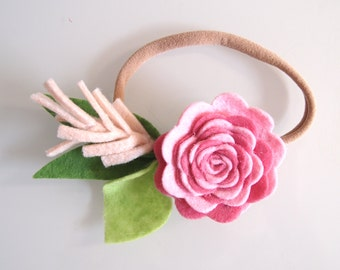 Rose pink VINTAGE ROSE single flower - headband or clip/ felt flower headband/ felt flower crown