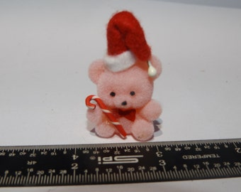 "Vintage Dollhouse Miniature Flocked 1"" pink Christmas Bear holding Candy Cane Bear"