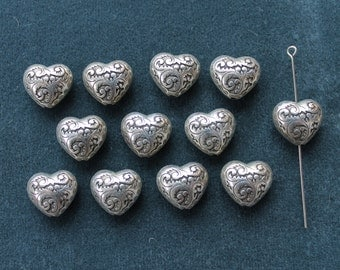 Vintage antique silver plated decorative small puffed heart. Made in USA, 2 sided, 15x15mm, qty.12  CC70