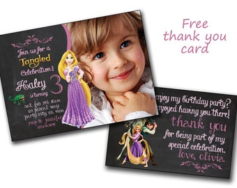 Rapunzel invitation, Tangled Invitation, Rapunzel Tangled Printable Birthday Invitation (Disney Tangled)  rapunzel matching Thank you card