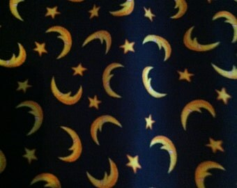 Halloween cotton fabric black with moons and stars 1 yard
