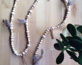 Feather + arrow timber bead garland