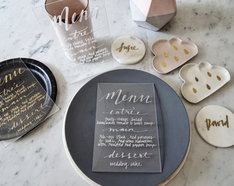 Metallic Silver Lettering Perspex Clear Sign Custom Hand Drawn / Acrylic Menu Signs / Modern Calligraphy / Party Wedding / 14cm x 20.5cm