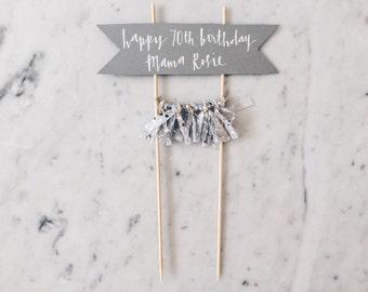 Cake Topper / Modern Calligraphy / Custom Hand Lettered / Silver / Hand Made Mini Tassels / Party / Birthdays / White Grey Gray Cream