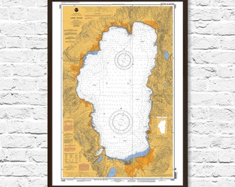 Lake Tahoe, Lake House Decor, Map Art, Nautical Chart, Lake Tahoe Print, Lake Tahoe Map, Lake Tahoe Art