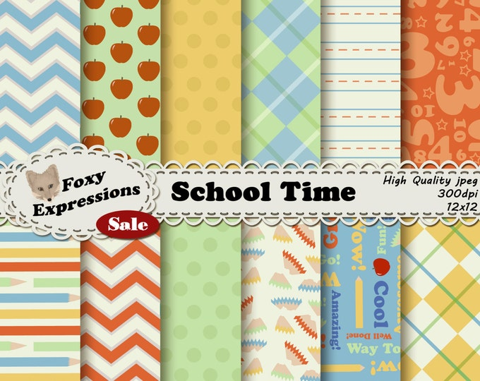 School Time Digital Paper comes in fun pencil shaving polka dots, colored pencil stripes, teacher apples, numbers, upbeat phrases and more.