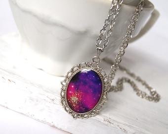 Universe Necklace Long Pendant Necklace Nebula Necklace Galaxy Jewelry Space Jewelry Purple Pendant Spark Necklace Girlfriend gift