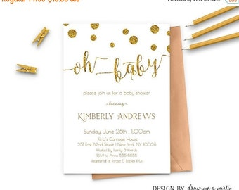 ON SALE Gold Baby Shower Oh Baby Invitation , Gold And White Baby Shower Invitation, Polk Dots , Printable