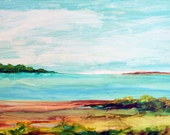 "30"" x 40"" Acrylic Landscape on Gesso Board ""Island Passage"". Custom made to order in any size."