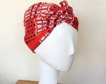 60s mod scarf geometric oblong rectangular vintage red white navy head neck scarf