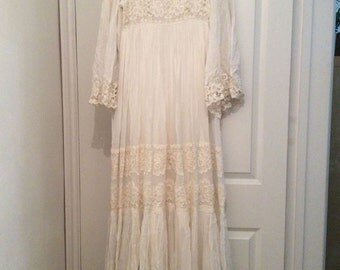 Vintage 70s Wedding Dress Retro Designer Lace Embroidered Pret A Porter Uk 12 M