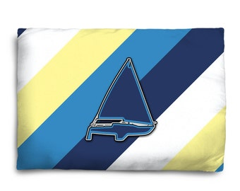 Sailboat Pillow, Sailboat Pillow Case, Sailboat Throw Pillow, Sports Pillow, Athletic, Athlete, Player, Comfortable, Won't Fade