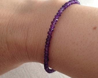 Amethyst bracelet, February birthstone, genuine amethyst, stackable  bracelet