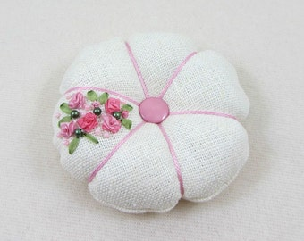 Hand embroidered pincushion, linen pincushion, embroidered ribbons, pink and white, floral pincushion,