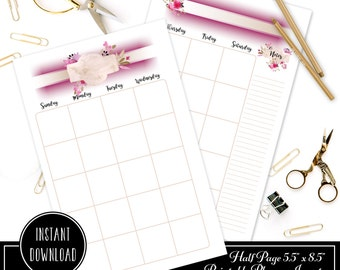 Rose Cream Undated Month on Two Page (MO2P) HALF PAGE/A5 Designed Printable Planner Inserts and Designed Printable Cover