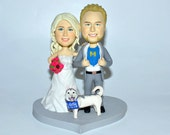 wedding cake topper personalized customm polymer clay toppers funny cartoon bride & groom figure figurines