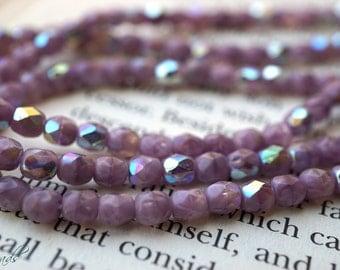 Lavander Shine, 4mm Beads, Czech Beads, N1885