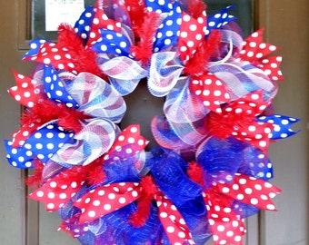 Made to Order, July Fourth Wreath, Patriotic Wreath, Military Wreath, Summer Wreath