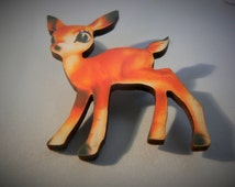 medium bambi deer brooch devine kitsh tatty 1950s woodcut lasercut retro