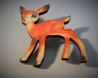 medium bambi deer brooch devine kitsh tatty 1950s woodcut lasercut retro