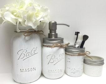 mason jar bath set  etsy, Bathroom decor