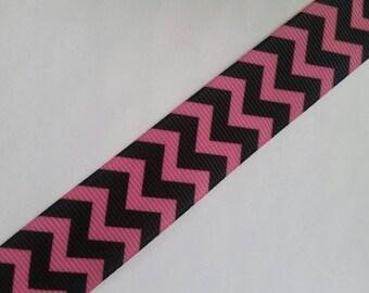 "5yd Hot Pink Black Chevron Zigzag Print 7/8"" 22mm hair bow supplies ribbon grosgrain printed scrapbook"